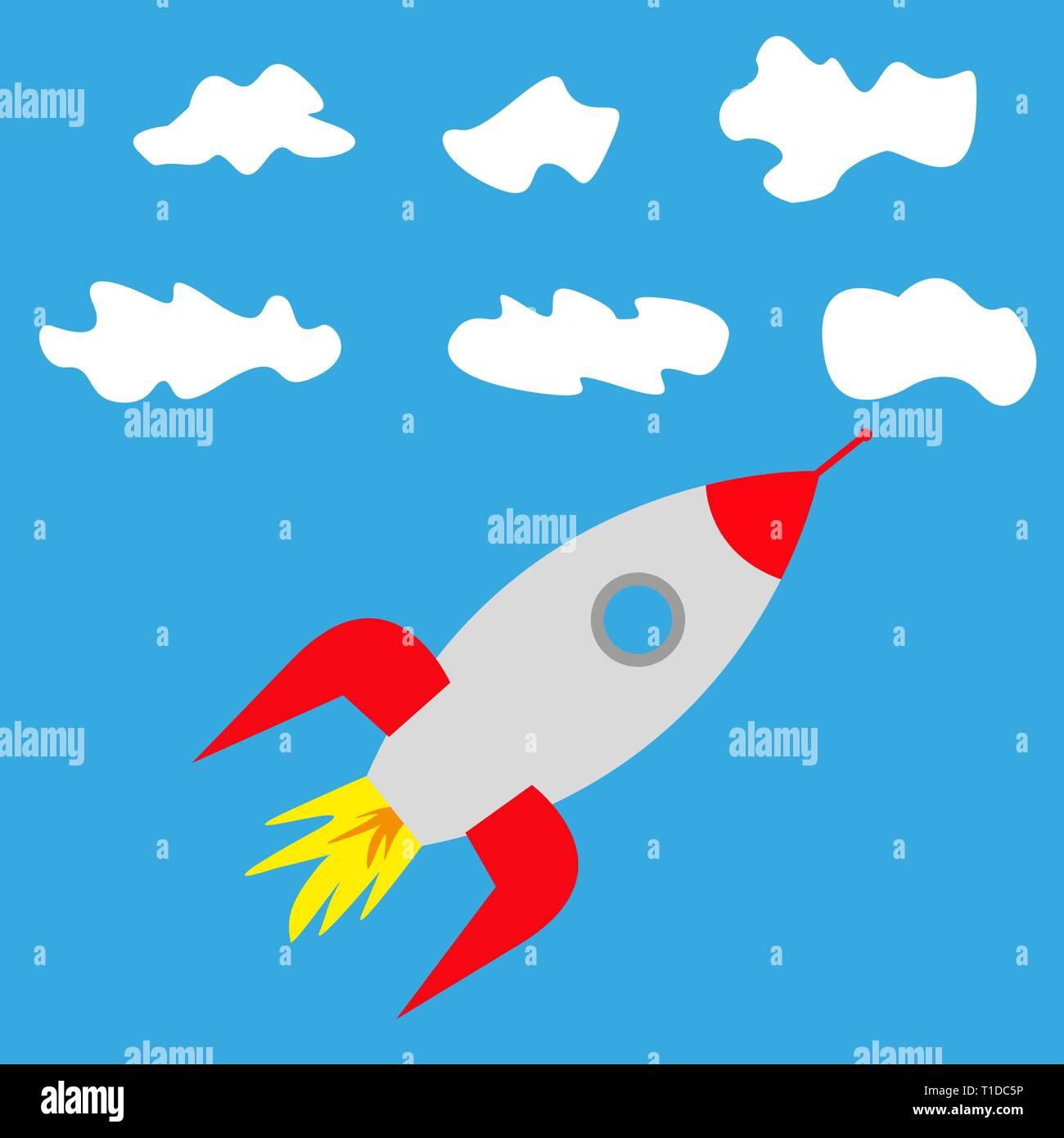 Rocket Ship Blue Sky Stock Photos & Rocket Ship Blue Sky