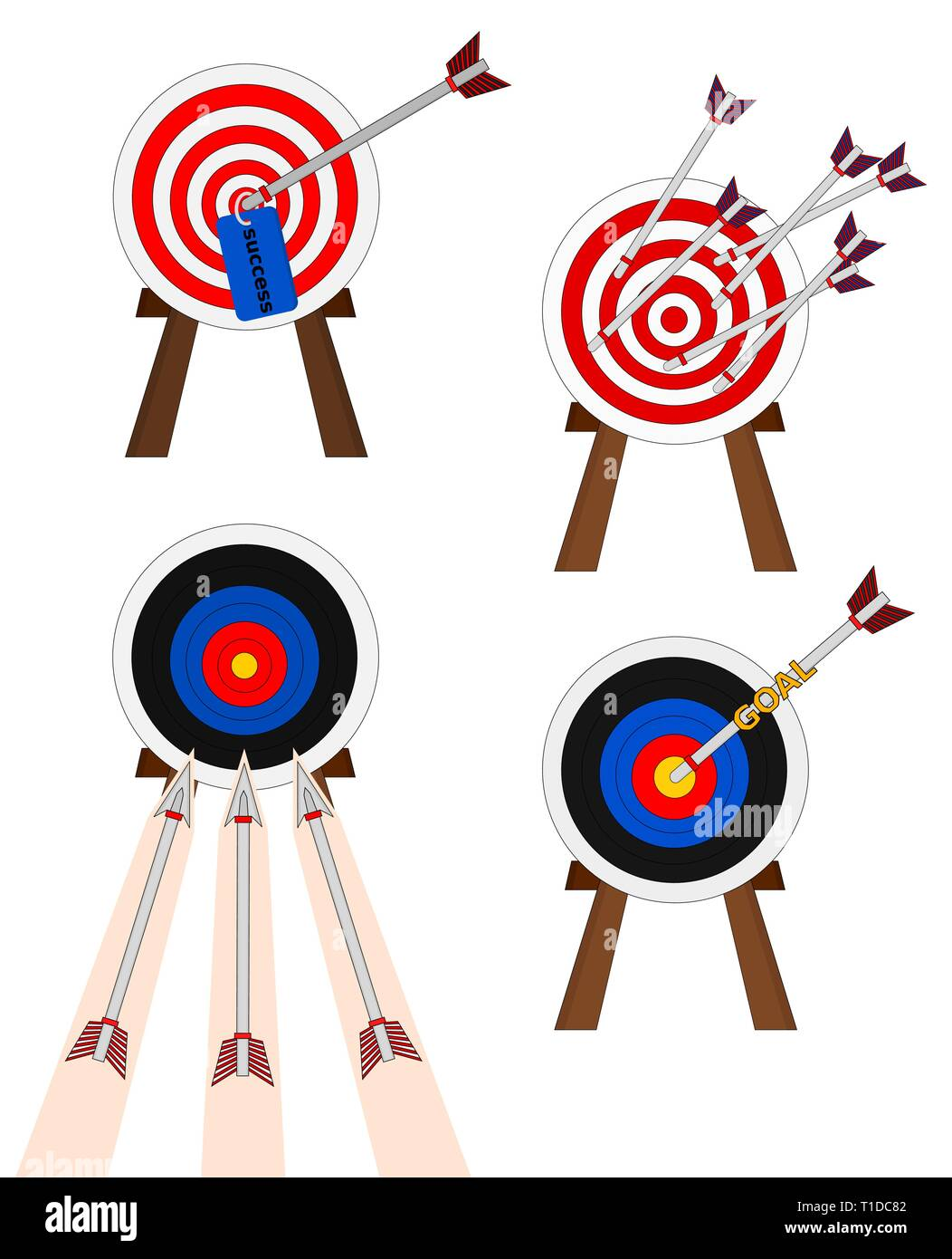 Business success shooting arrow to target , icon set Stock Vector