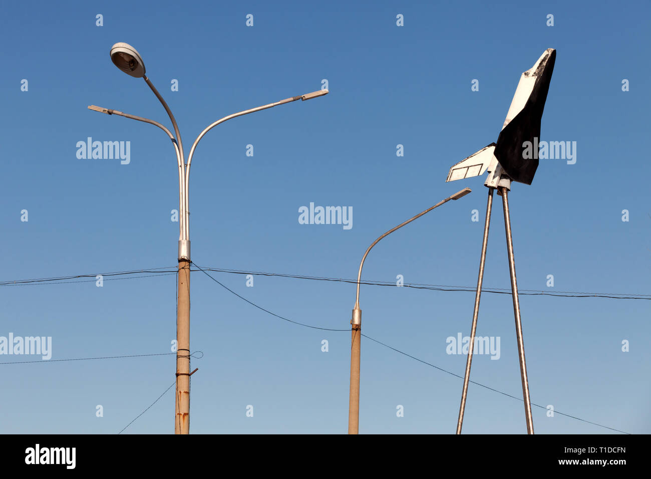 BAIKONUR - A model of the Buran space shuttle at a checkpoint in the Russian administered town of Baikonur. - Stock Image