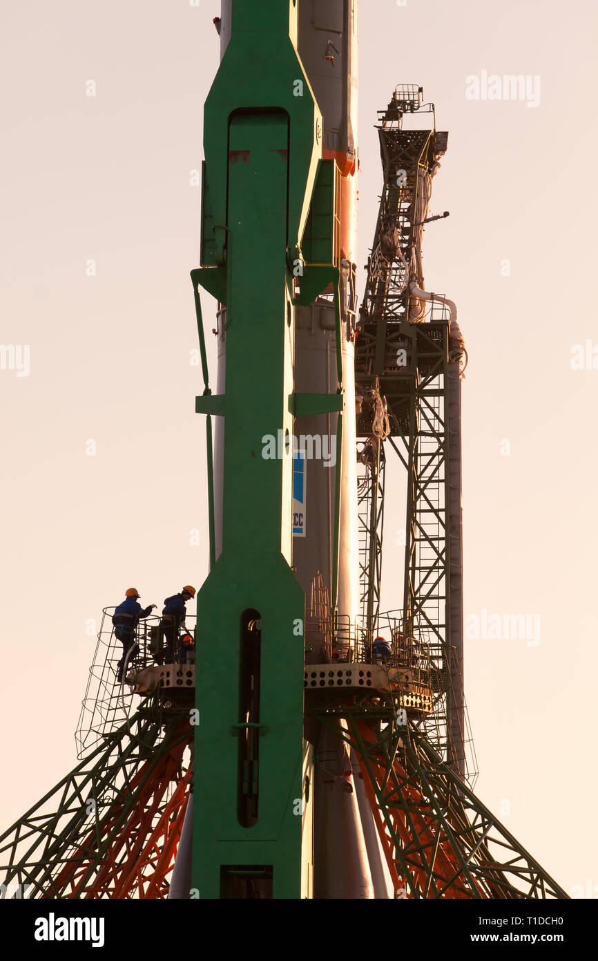 BAIKONUR - The Soyuz rocket MS-03 on the Gagarin Start launchpad on monday morning November 14. It will be launched on friday morning November 18 - Stock Image