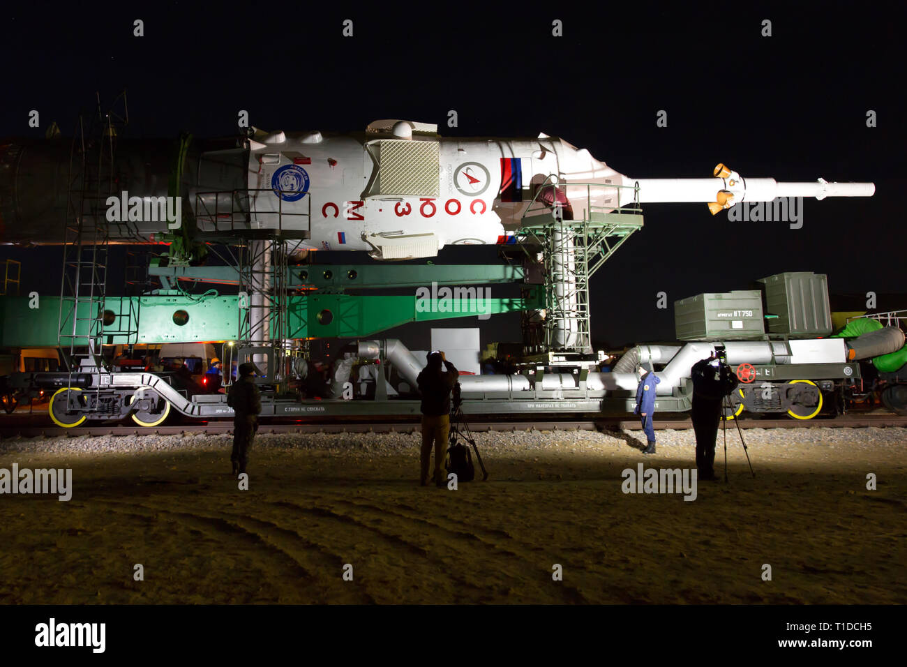 BAIKONUR - The Soyuz rocket MS-03 is beeing rolled out of the assembly hall 112 for transportation to the Gagarin Start launchpad in the early morning - Stock Image