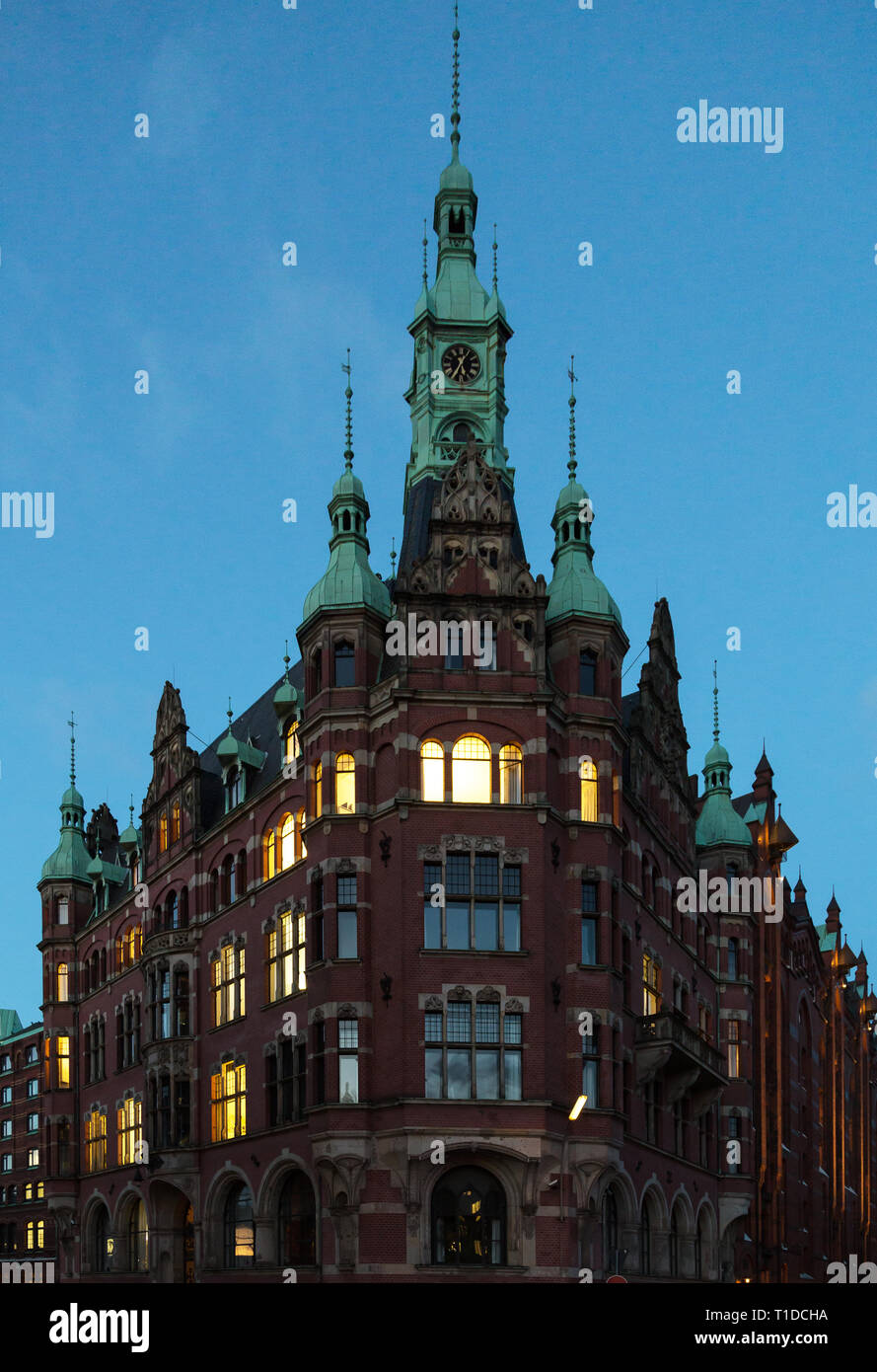 06.02.2017, Hamburg, Hamburg, Germany - Building in the Speicherstadt, the world's largest historical warehouse complex. Since 2015 it has been on the Stock Photo