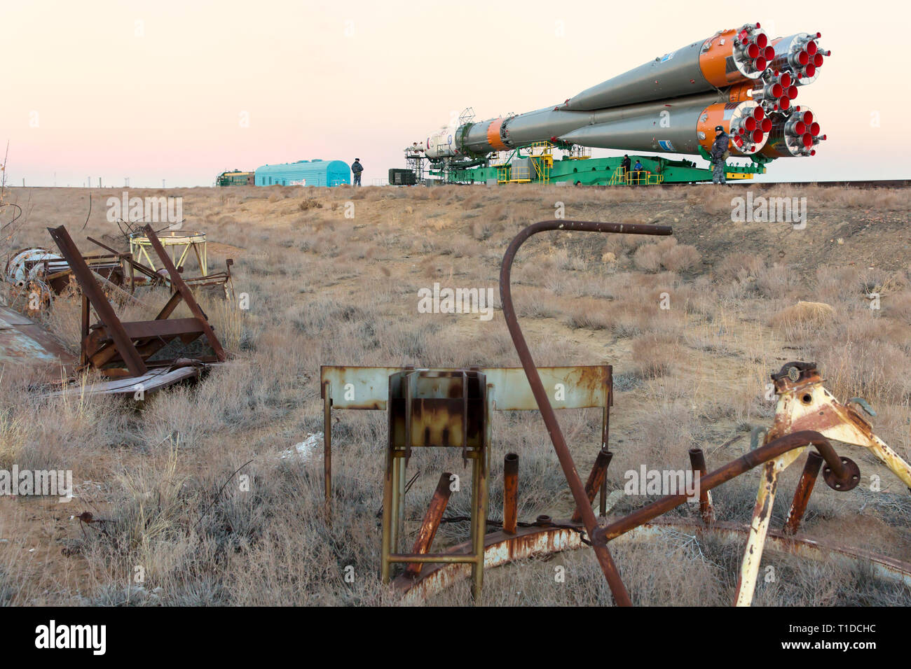 BAIKONUR - The Soyuz rocket MS-03 is beeing rolled out by train to the Gagarin Start launchpad on monday. It will be launched on friday morning. - Stock Image