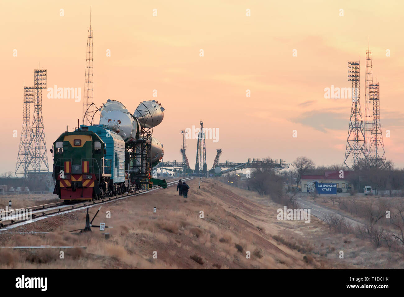 BAIKONUR - The Soyuz rocket MS-03 is beeing rolled out by train to the Gagarin Start launchpad on monday morning. - Stock Image