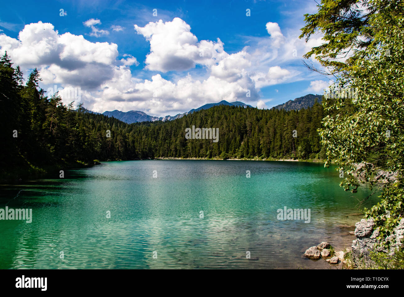 Azure water at Eibsee lake at the foot of Mt. Zugspitze. Location famous resort Garmisch-Partenkirchen, Bavarian alp, Europe. Scenic image of popular  - Stock Image