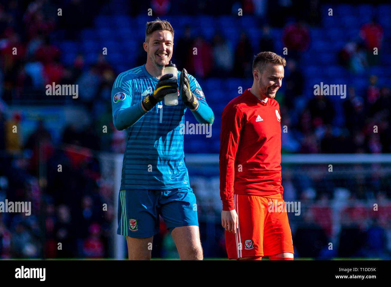Wayne Hennessey of Wales celebrates at Full Time. Wales v Slovakia UEFA Euro 2020 Qualifier at the Cardiff City Stadium, Stock Photo