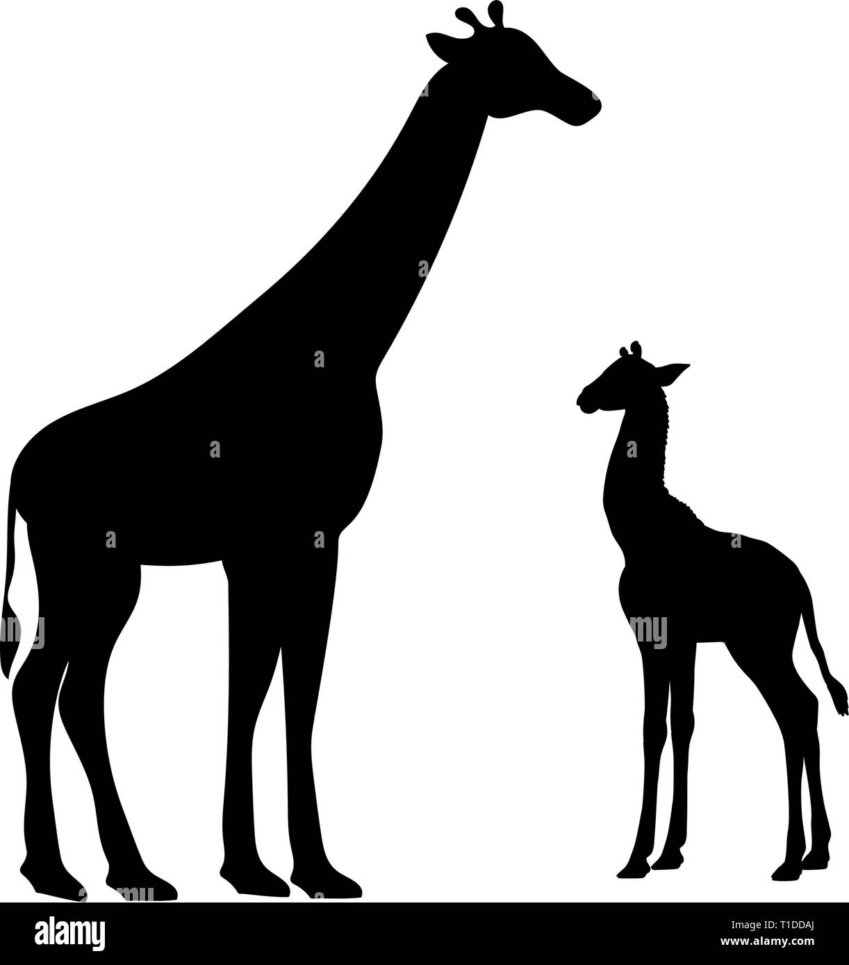 Giraffe and giraffe cub mammal silhouette animal - Stock Vector