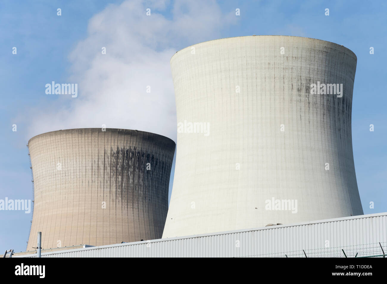 Close up of two cooling towers of the nuclear reactor - Stock Image