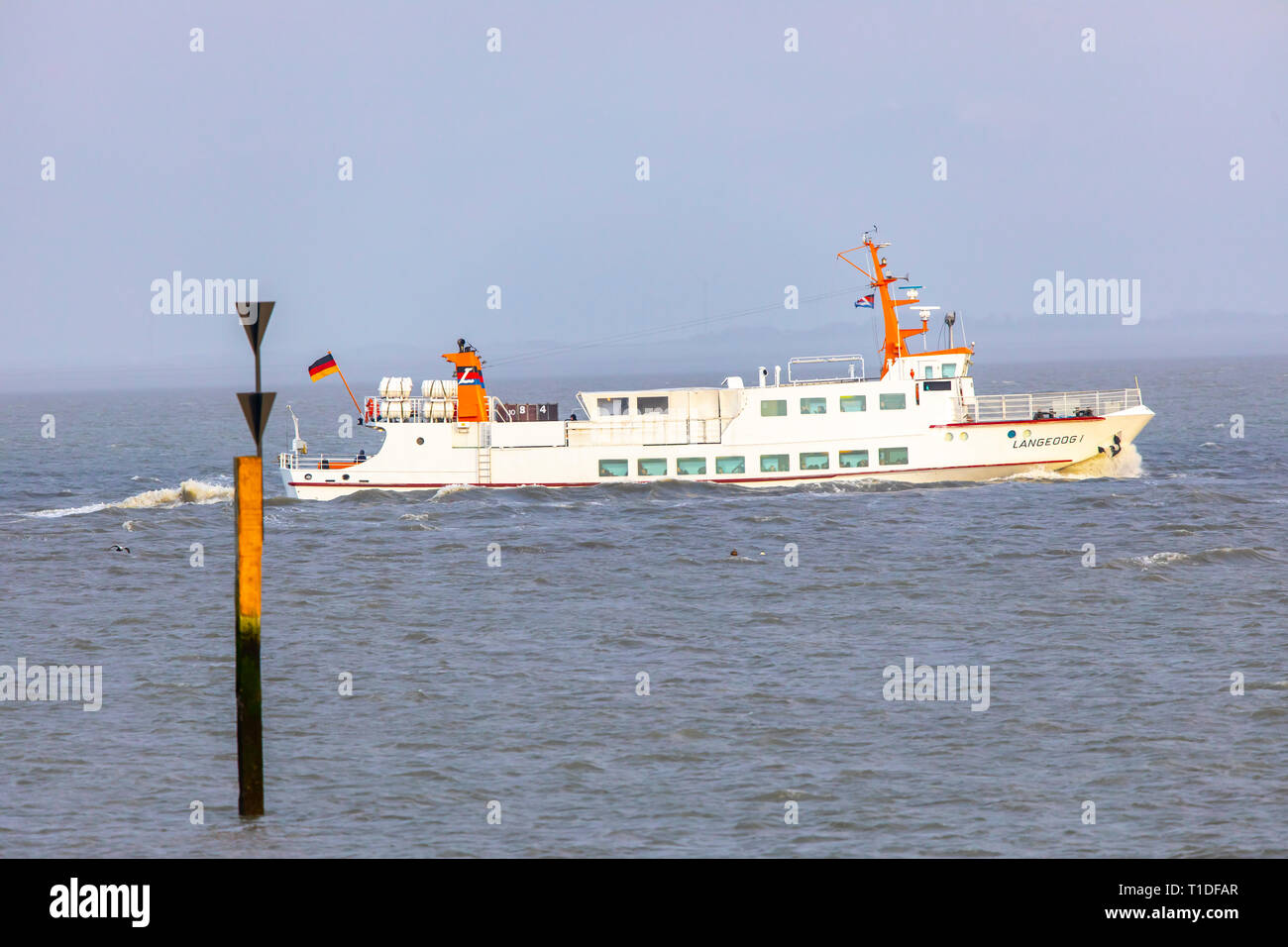 North Sea island Langeoog, East Frisia, Lower Saxony, ferry Langeoog 1, Stock Photo