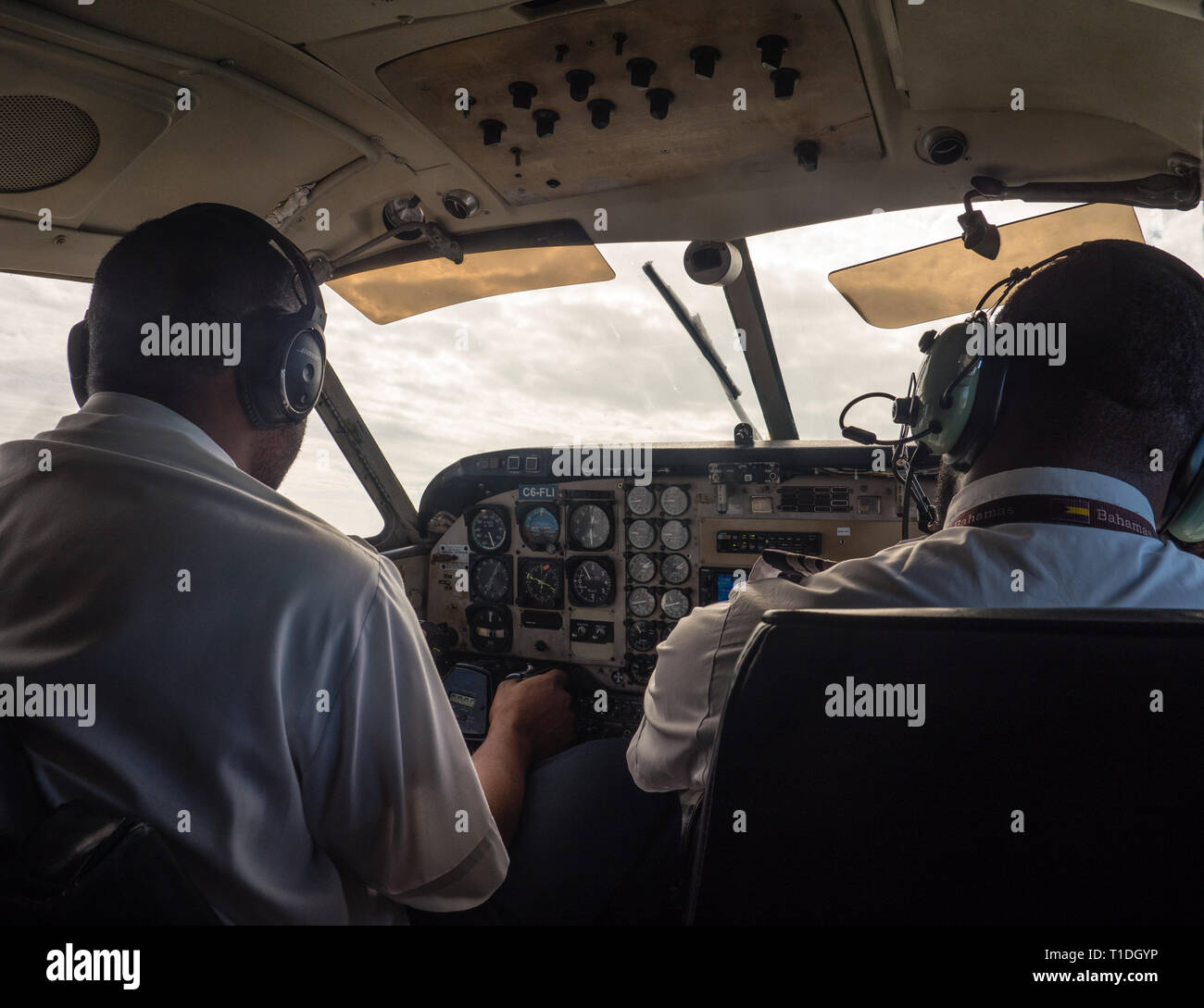 Air Pilots for Bahamas Air, Governors Harbour Airport, Eleuthera, The Bahamas, The Caribbean. - Stock Image
