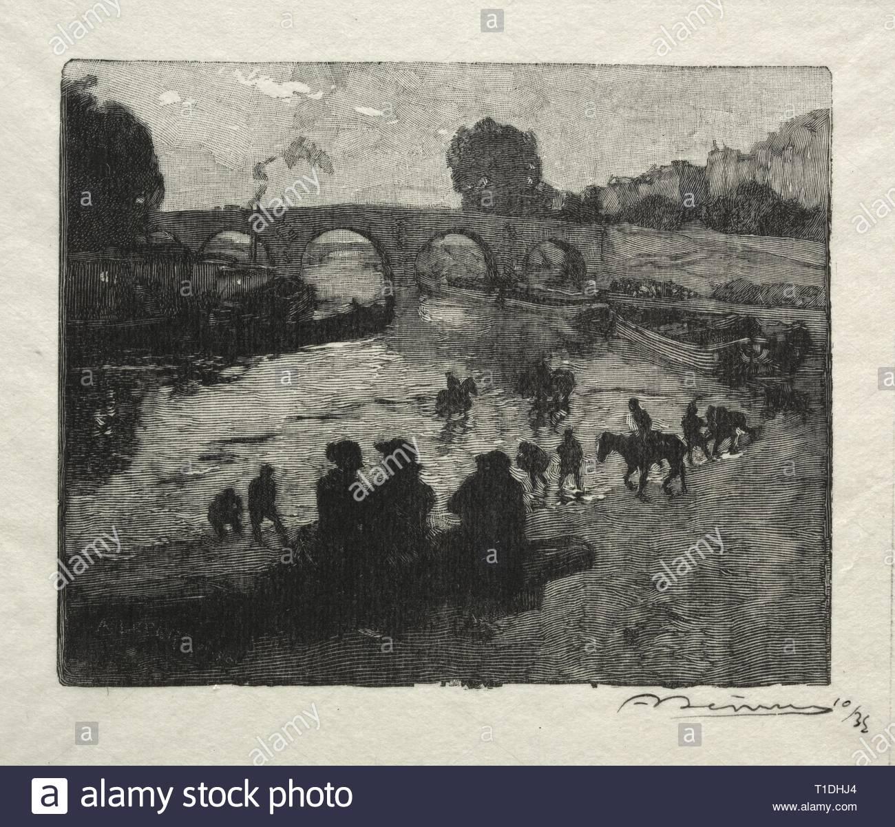L'Abreuvoir du Pont Marie. Auguste Louis Lepère (French, 1849-1918). Wood engraving. - Stock Image