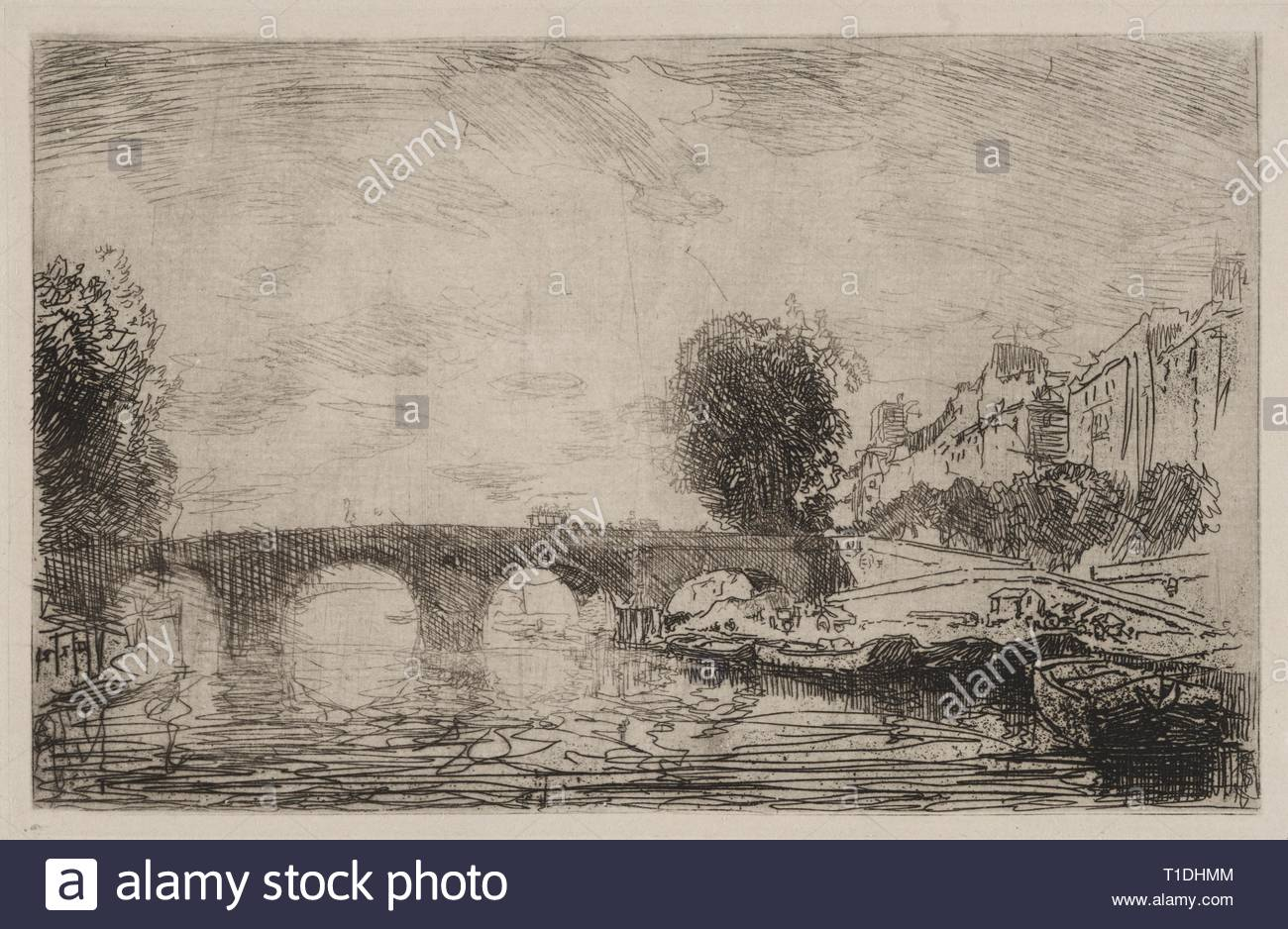 Sunset at Pont Marie, 1890. Auguste Louis Lepère (French, 1849-1918). Etching. - Stock Image