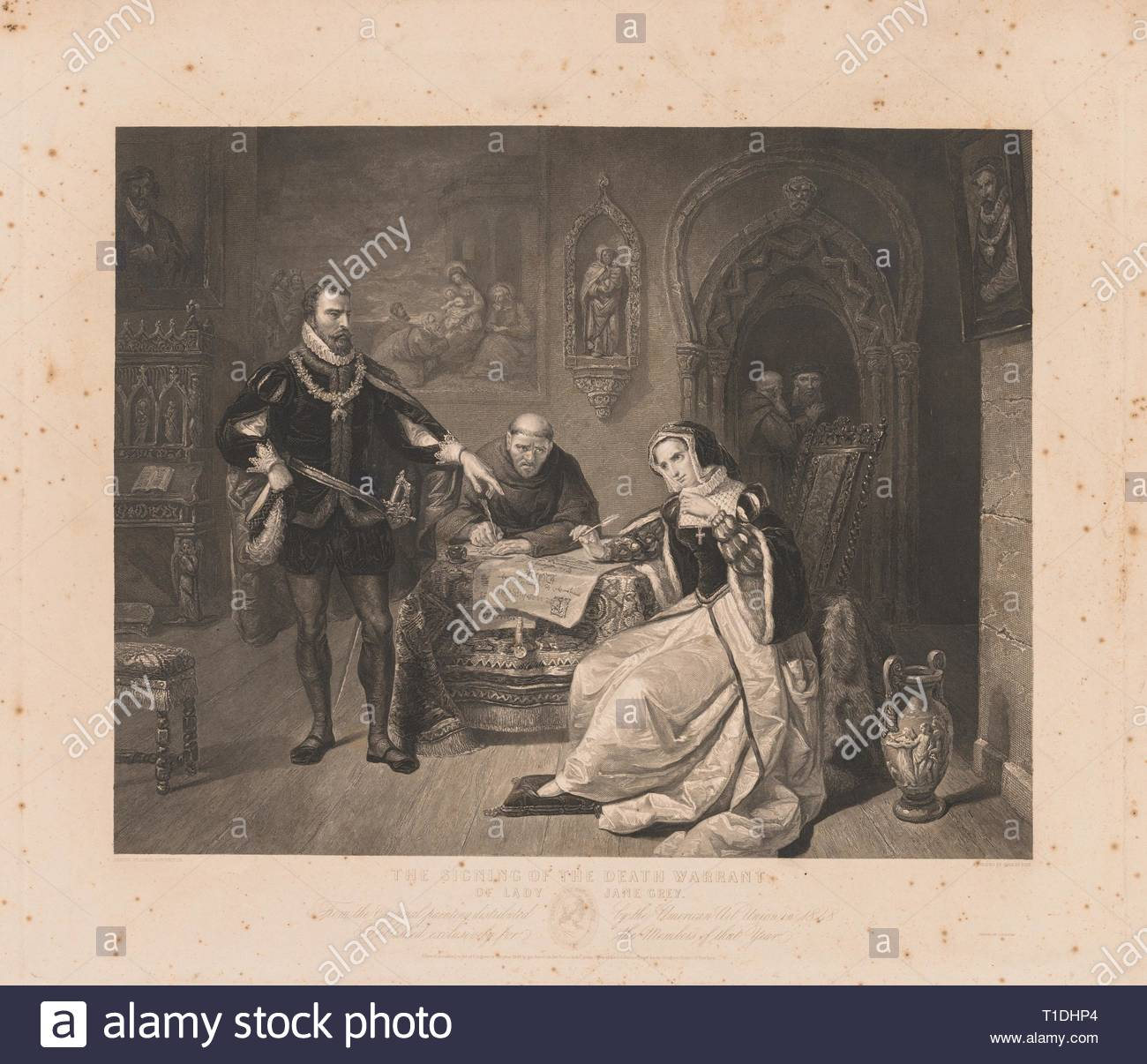 Signing of the Death Warrant of Lady Jane Grey. Charles Kennedy Burt (American, 1823-1892). Engraving. - Stock Image