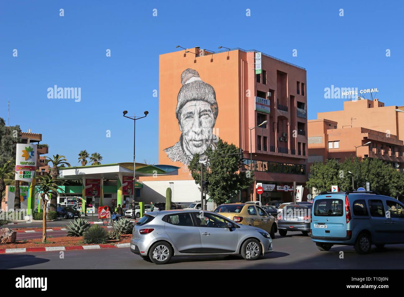 Aziz, the local mason, part of Hendrik Beikirch's 'Tracing Morocco' series (see info). Gueliz, Marrakesh, Marrakesh-Safi region, Morocco, north Africa - Stock Image