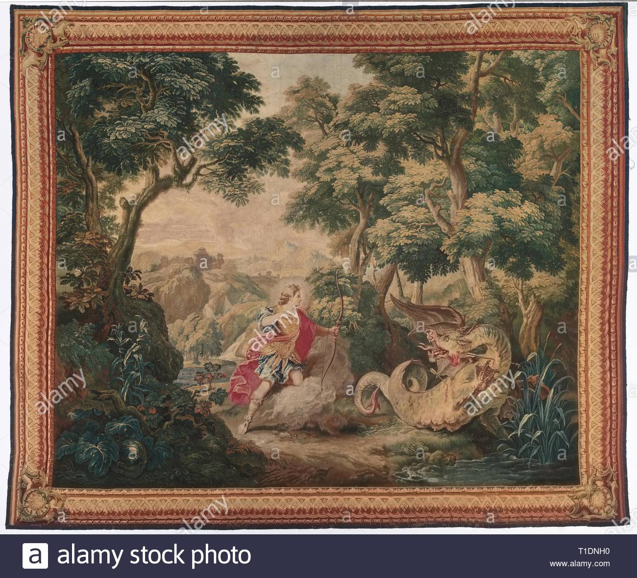 Apollo and the Serpent Python (from Set of Ovid's Metamorphoses), 1700-1730. Gobelins (French), after Nicolas Bertin (French, 1668-1736). Tapestry weave; overall: 330.2 x 393.4 cm (130 x 154 7/8 in.). - Stock Image