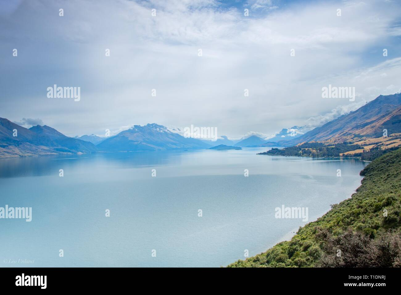 Overlooking Lake Wakatipu from the Flenorchy Road, NZ - Stock Image