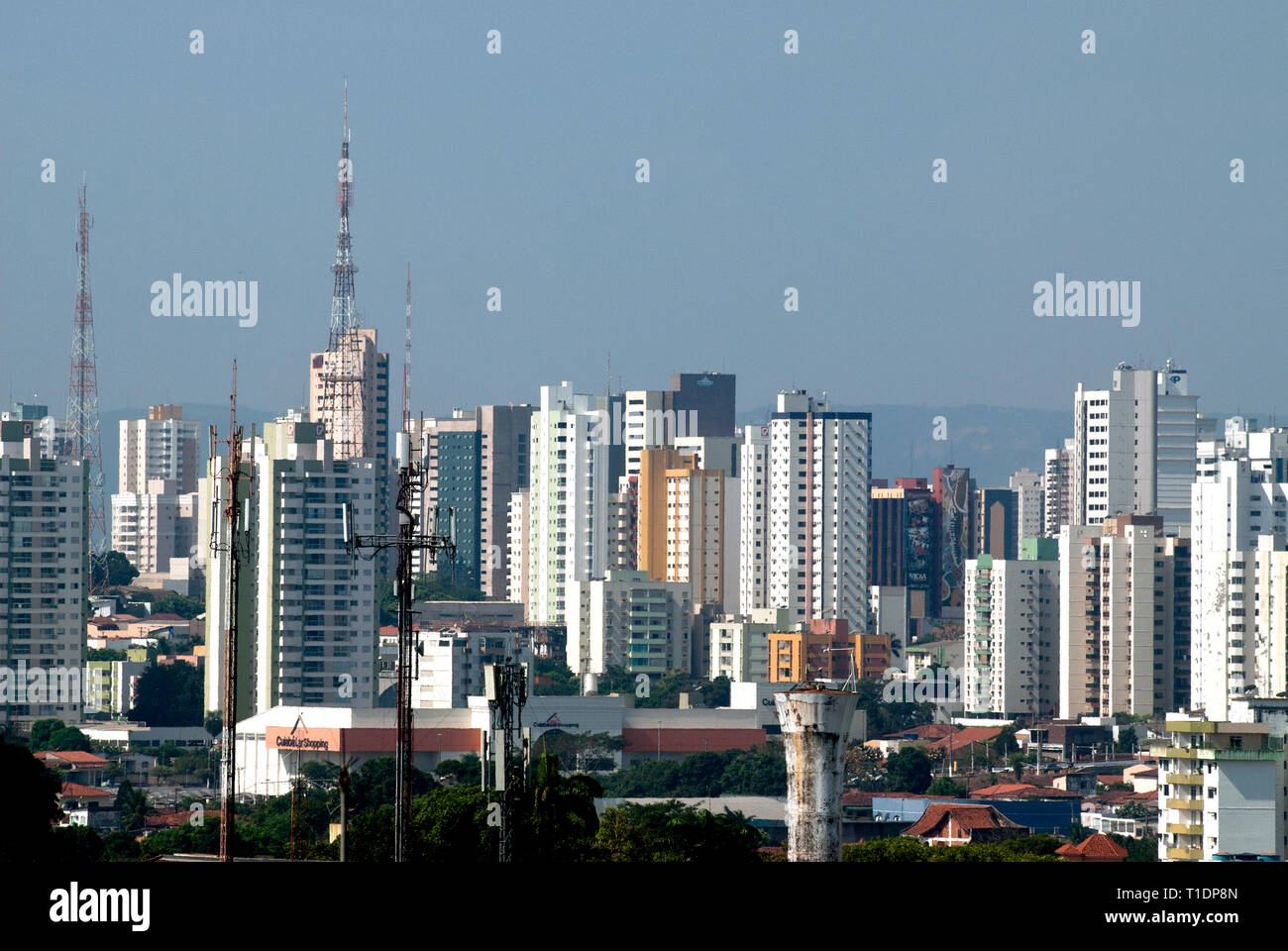 Skyline of the city of Cuiaba, capital of the Brazilian state of Mato Grosso Stock Photo