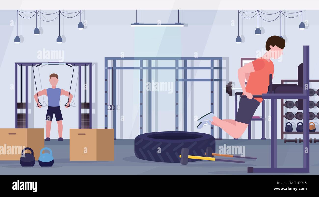 sports men doing exercises on parallel bar training apparatus guys working out in gym crossfit training healthy lifestyle concept modern health club - Stock Vector
