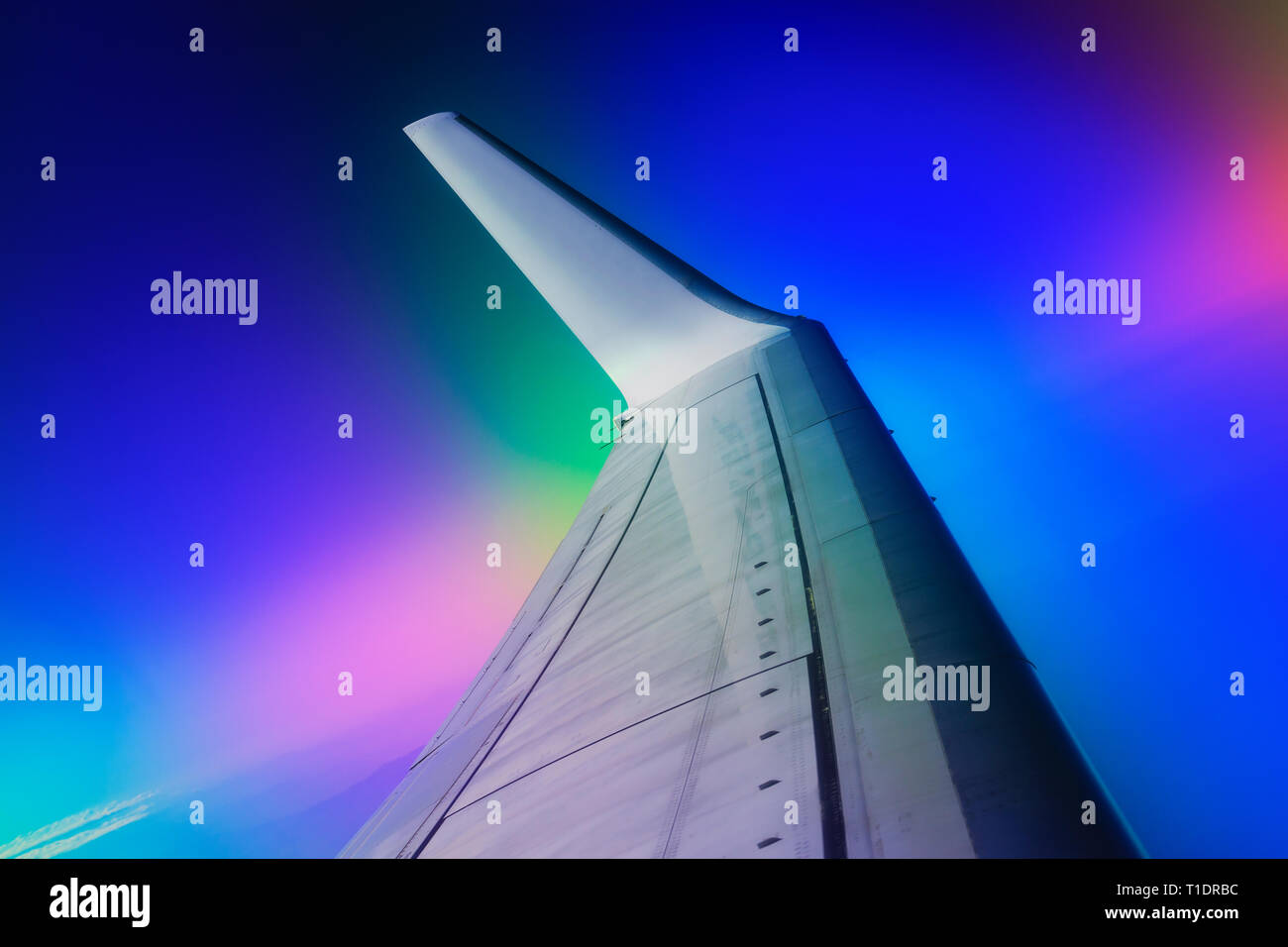 trip, dream fulfillment, goal achievement, Airplane wing, victory, new idea, plan, flight safety, spurts, summer time, hot - Stock Image