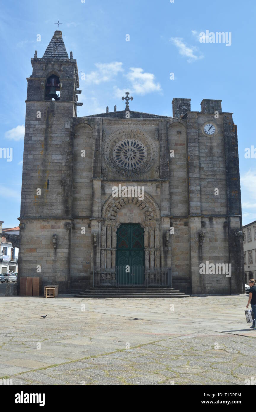 Main facade of the Church of San Martín Located in the Plaza del Tapal. In Noya. Nature, Architecture, History, Street Photography. August 19, 2014. L - Stock Image