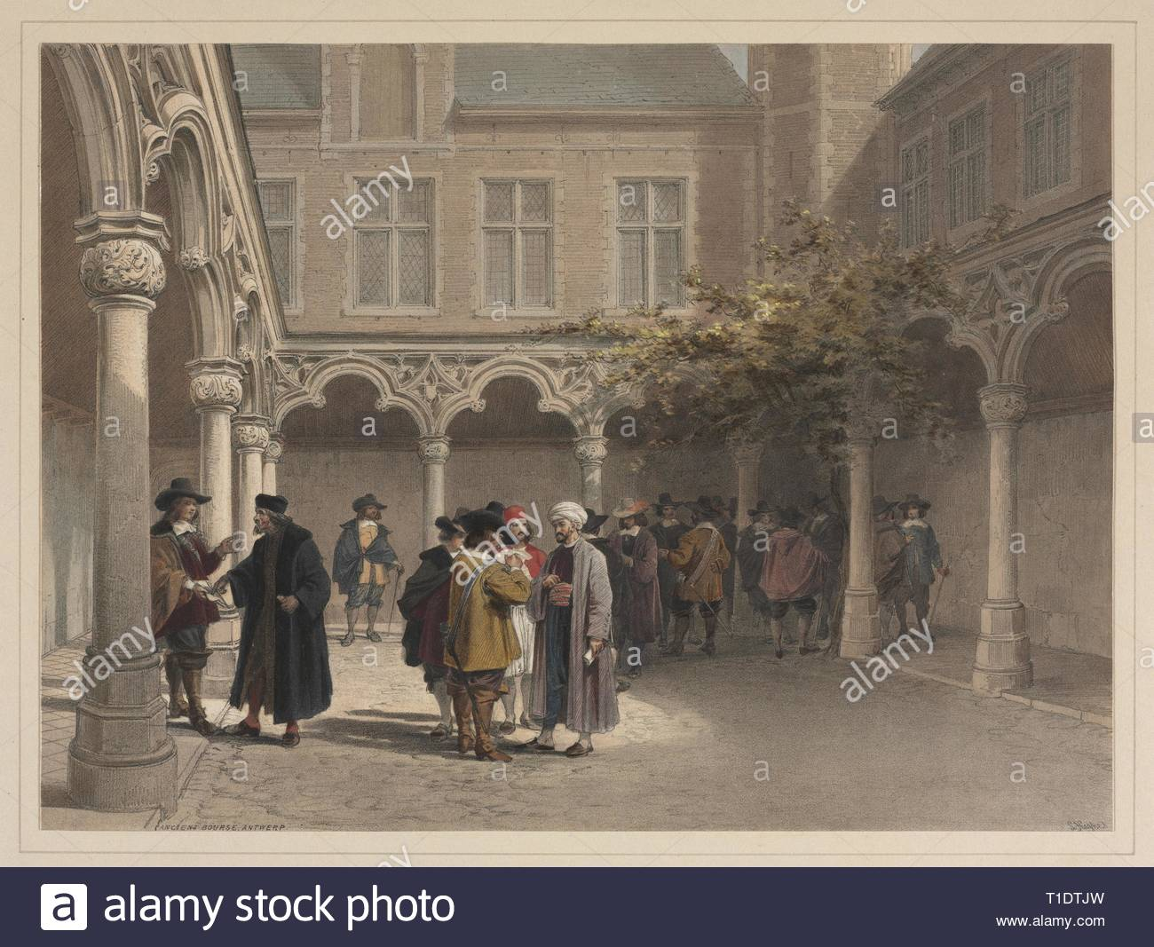 Ancien Bourse, Antwerp. Louis Haghe (British, 1806-1885). Color lithograph with hand coloring. - Stock Image