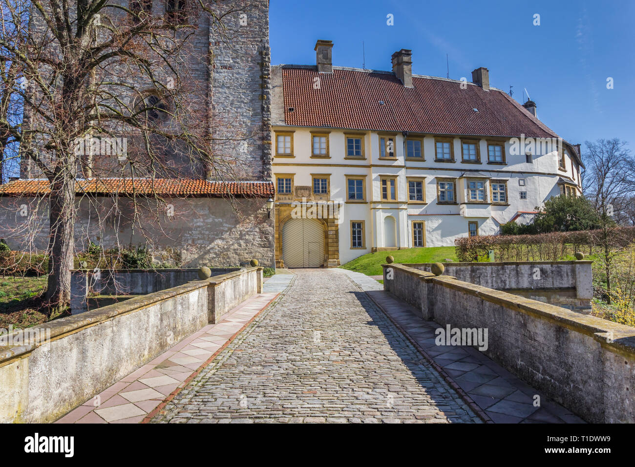 Bridge leading to the castle in Rheda-Wiedenbruck, Germany - Stock Image