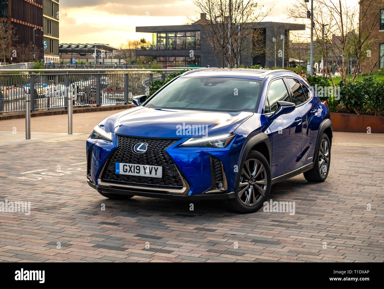 Car front view of a Blue brand new released The Lexus UX high-riding soft-roader car parked in Kings Cross, London - Stock Image