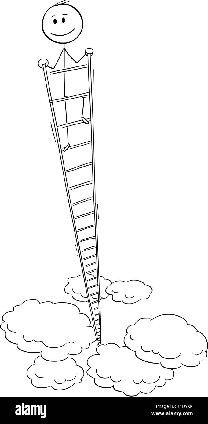 Cartoon stick figure drawing conceptual illustration of smiling happy man or businessman looking around from the top of very high ladder. Business concept of success. - Stock Image