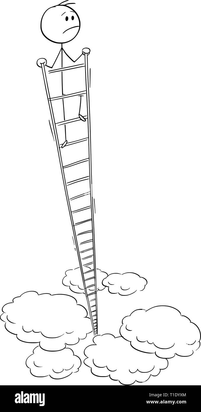 Cartoon stick figure drawing conceptual illustration of dissatisfied man or businessman looking around from the top of very high ladder. Business concept of success and satisfaction. - Stock Image