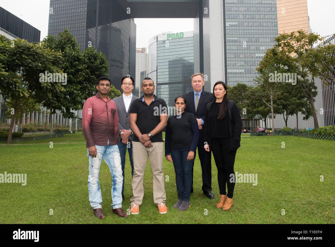 FILE IMAGE: HONG KONG,HONG KONG SAR,CHINA. L Ajith Puspa, Hong Kong government Legislator Charles Mok,Supun Thilina Kellapatha,Nadeeka Dilrukshi Nonis - Stock Image