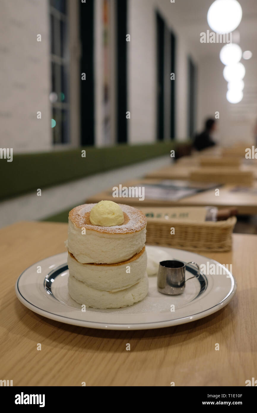 The famous Fluffy Pancakes in Japan, Hakodate, Hokkaido, Japan - Stock Image