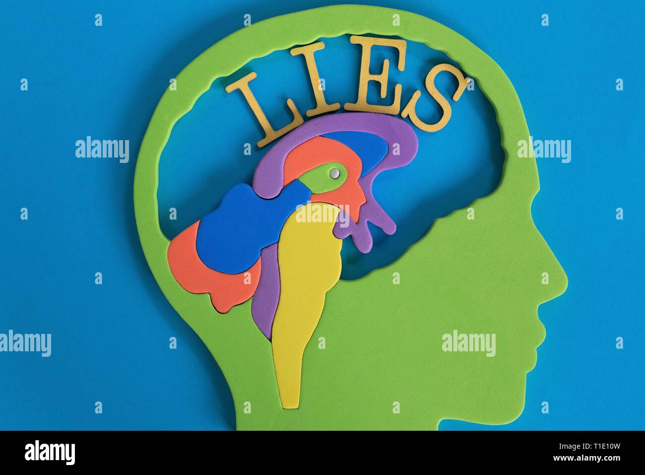 Conceptual image illustrating the mind of a liar. - Stock Image