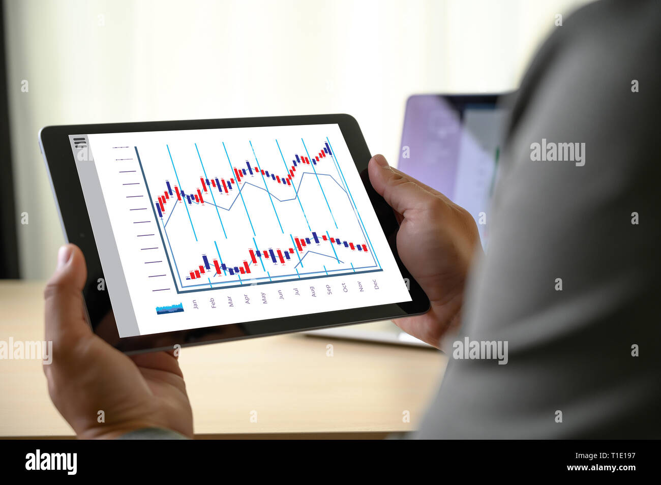 business man work chart schedule or planning financial report data methodology - Stock Image