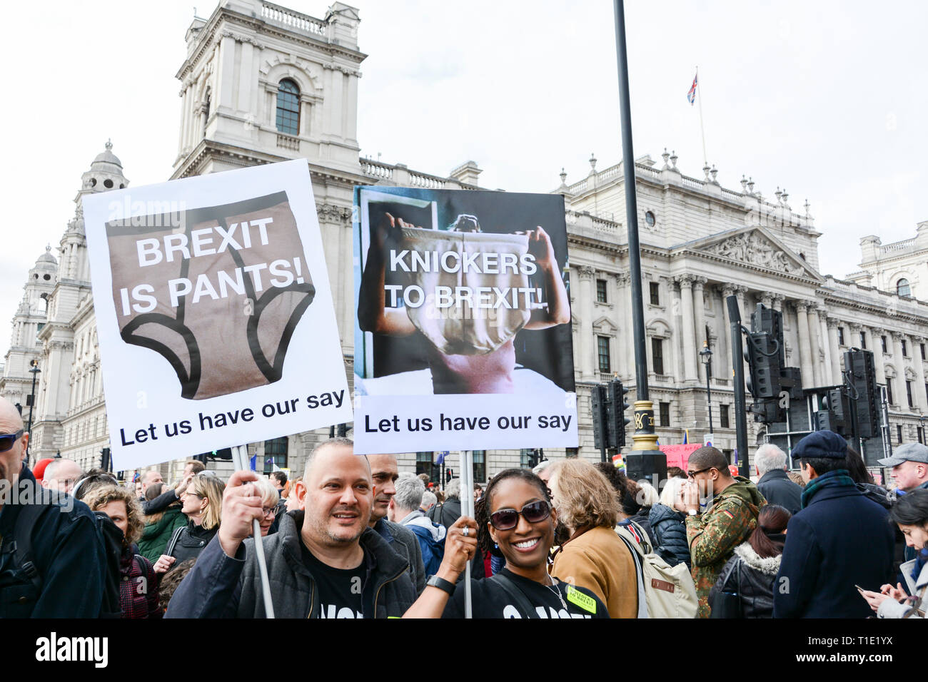 London, England, UK. 23 March 2019.  Brexit is Pants placards at the People's Vote anti Brexit protest march - Stock Image