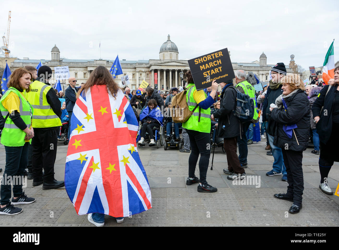 London, England, UK. 23 March 2019.  People's Vote March in Trafalgar Square, London, UK - Stock Image