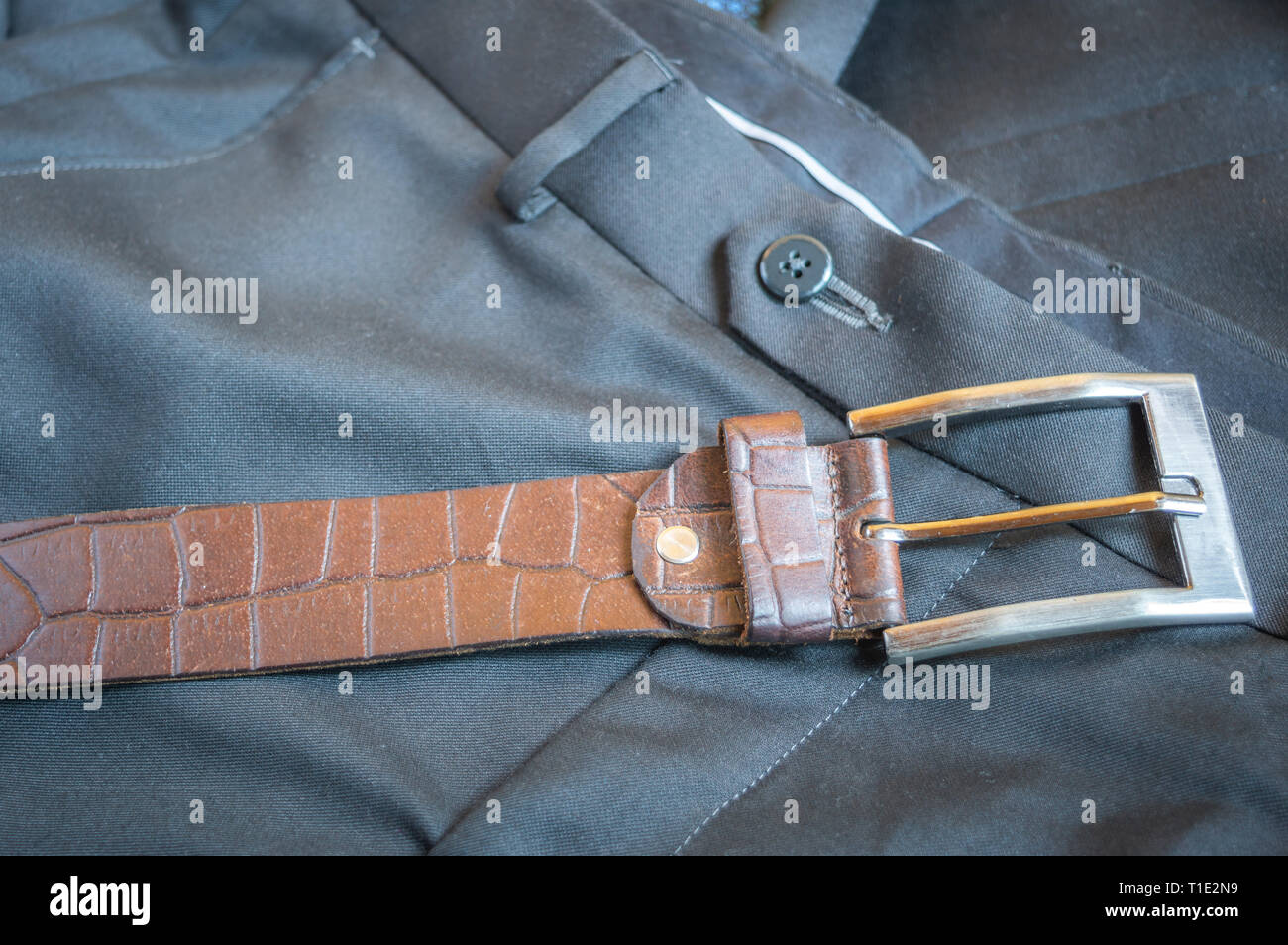 A brown textured leather belt kept on a formal pant trouser - Stock Image