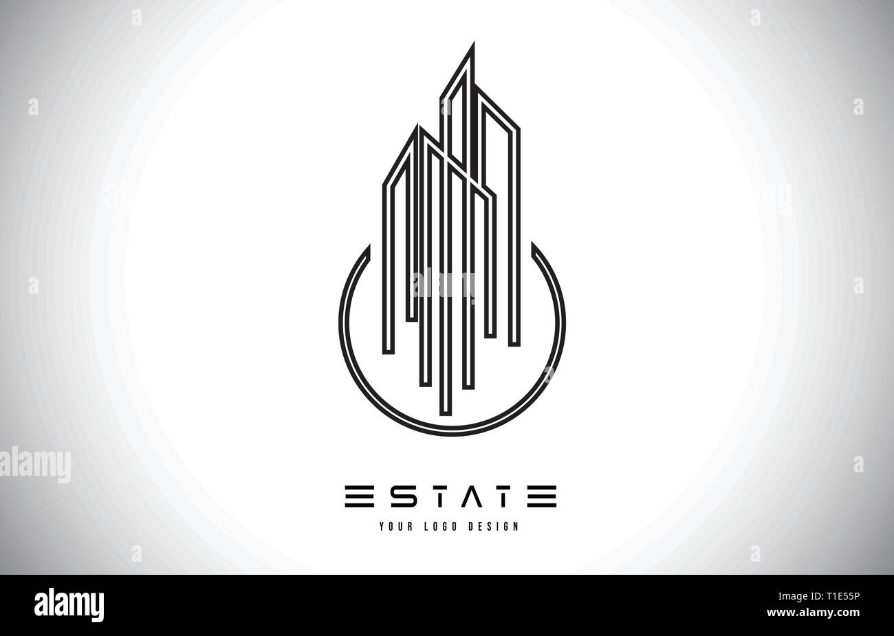 Real Estate Modern Monogram Logo Design Real Estate Lines Abstract Buildings Icon Vector Illustration Stock Vector Image Art Alamy
