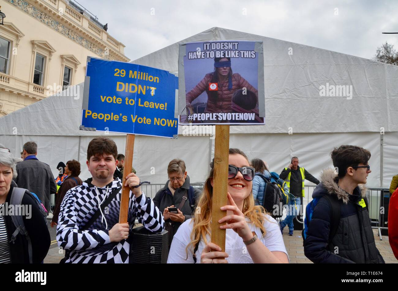 scenes from the anti brexit pro peoples vote march in london 23rd march 2019 homemade placards - Stock Image
