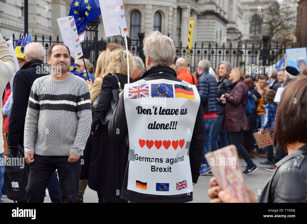 scenes from the anti brexit pro peoples vote march in london 23rd march 2019 german man appeals for UK to stay - Stock Image
