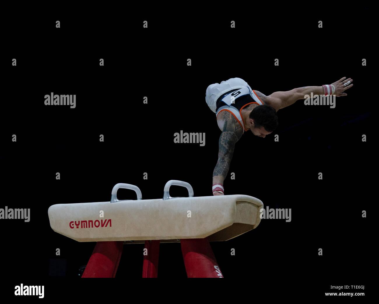 Bart Deurloo (Netherlands) in action during Gymnastics World Cup 2019 at Genting Arena Birmingham United Kingdom on March 23 2019. GlennSports. - Stock Image