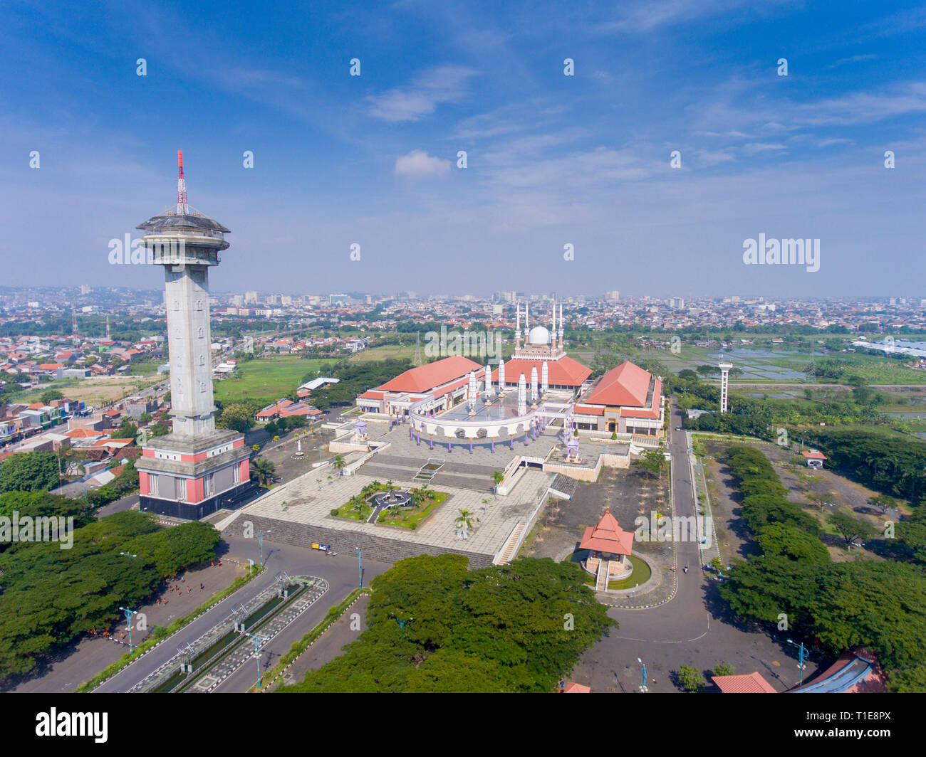 Grand Mosque of Central Java Province in Semarang. Indonesia is the largest muslim country in the world. The mosque can accommodate 16,000 prayers. - Stock Image