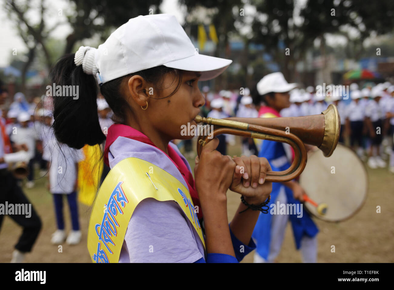 Naogaon, Bangladesh  26th Mar, 2019  A school girl plays tubas as