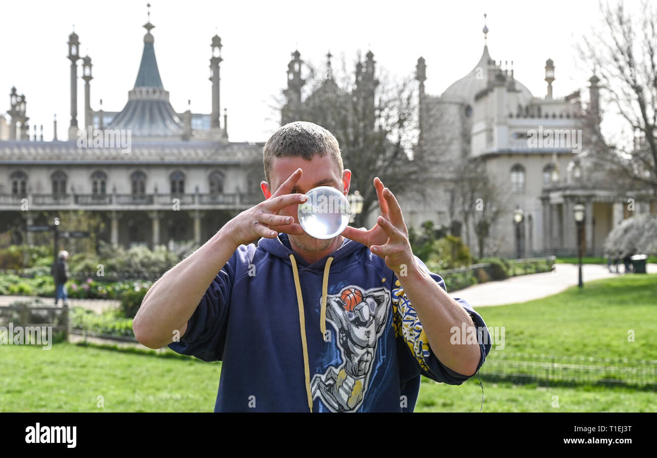 Brighton, UK. 26th Mar, 2019. Shane McQuire hones his skills by Brightons Royal Pavilion on a lovely sunny Spring day as the weather is forecast to be warm with more sunshine throughout Britain over the next few days Credit: Simon Dack/Alamy Live News Stock Photo