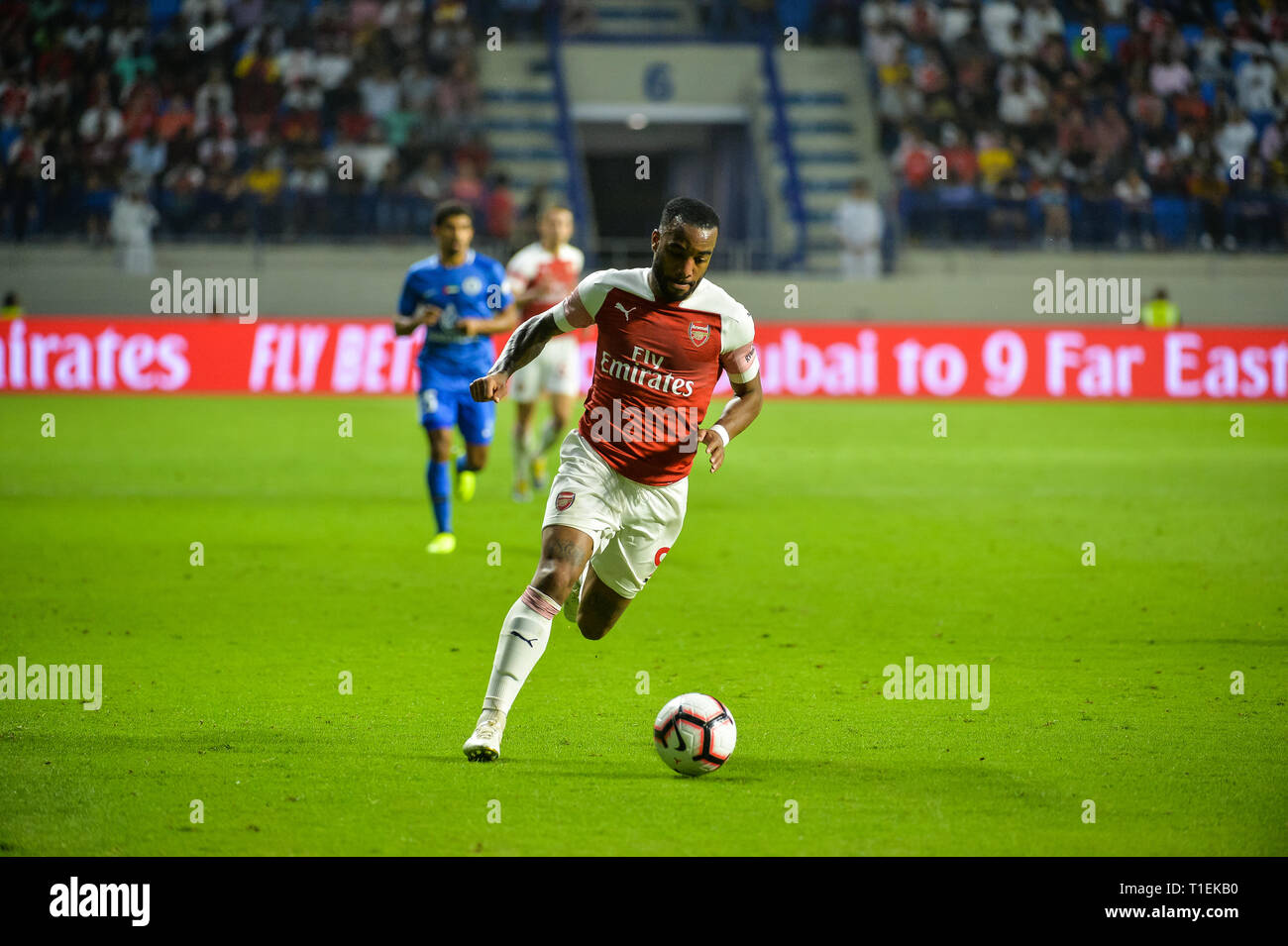 Dubai, UAE, 26th March 2019. Action from the friendly match between Arsenal F.C. and Al Nasr F.C. on the occasion of the official opening of Al Maktoum Stadium. This is the 2nd match of all time between the two teams after 1976 Credit: Feroz Khan/Alamy Live News - Stock Image