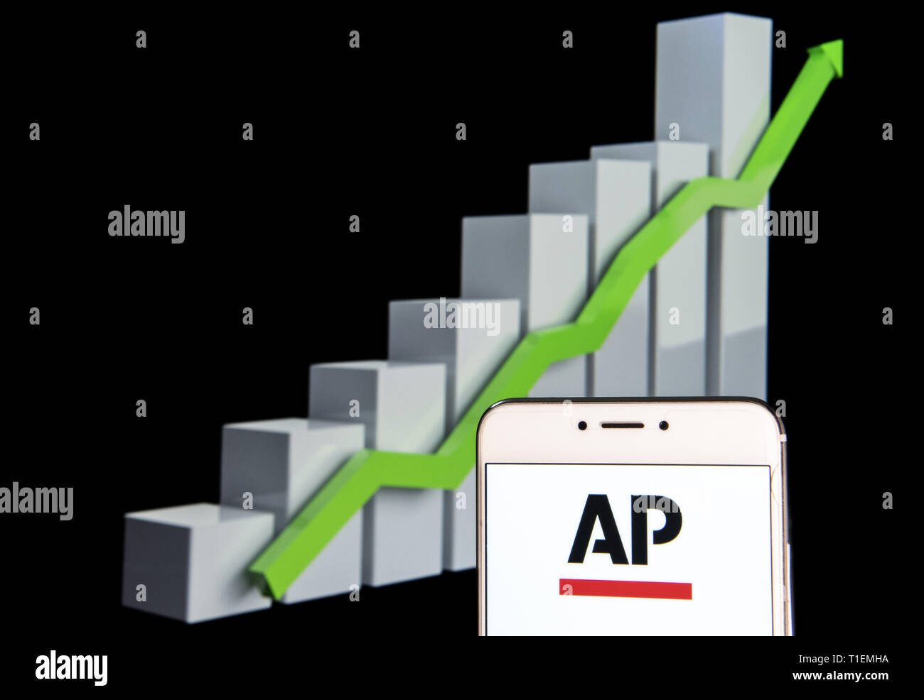 February 11, 2019 - Hong Kong - In this photo illustration a News agency Associated Press (AP) logo is seen on an android mobile device with an ascent growth chart in the background. (Credit Image: © Budrul Chukrut/SOPA Images via ZUMA Wire) - Stock Image