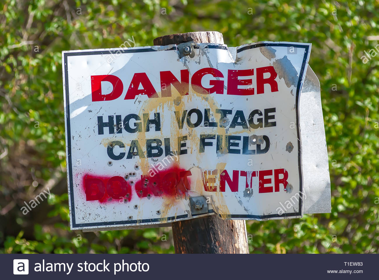 Danger High Voltage Cable Field Do Not Enter Sign in rough shape after being graffitied and shot full of holes. - Stock Image