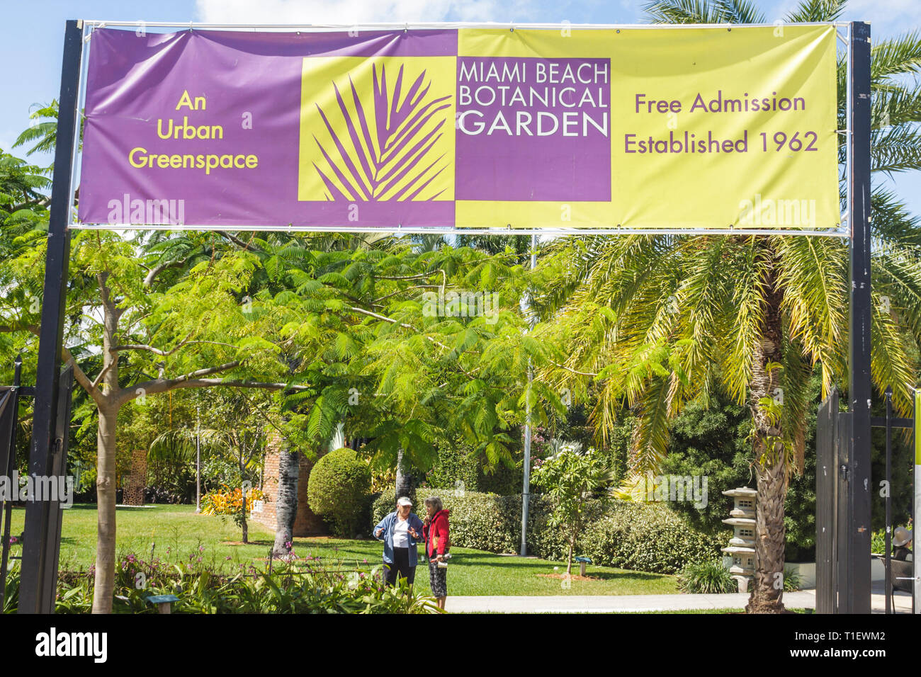 Florida Fl South Miami Beach Sobe Miami Beach Botanical Garden Gardening Plants Trees Horticulture Entrance Front Adult Adults Woman Women Stock Photo Alamy