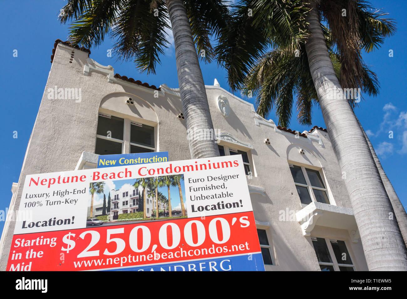 Miami Beach Florida Neptune Beach Condominiums building refurbished condo condominium conversion royal palm trees real estate sa - Stock Image
