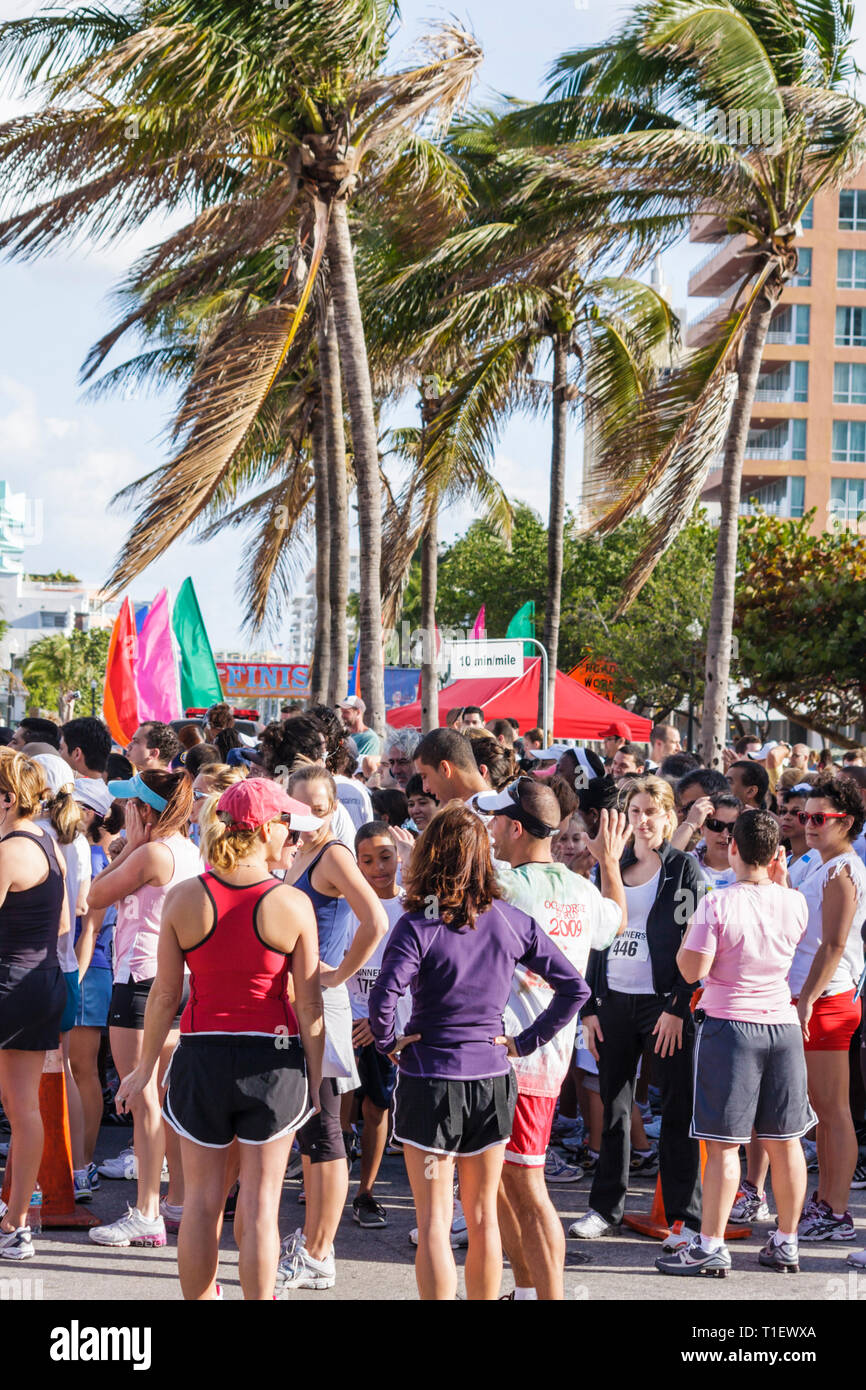Miami Beach Florida Ocean Drive South Pointe 5K Run benefit runners race compete starting line man woman sport exercise fitnes - Stock Image