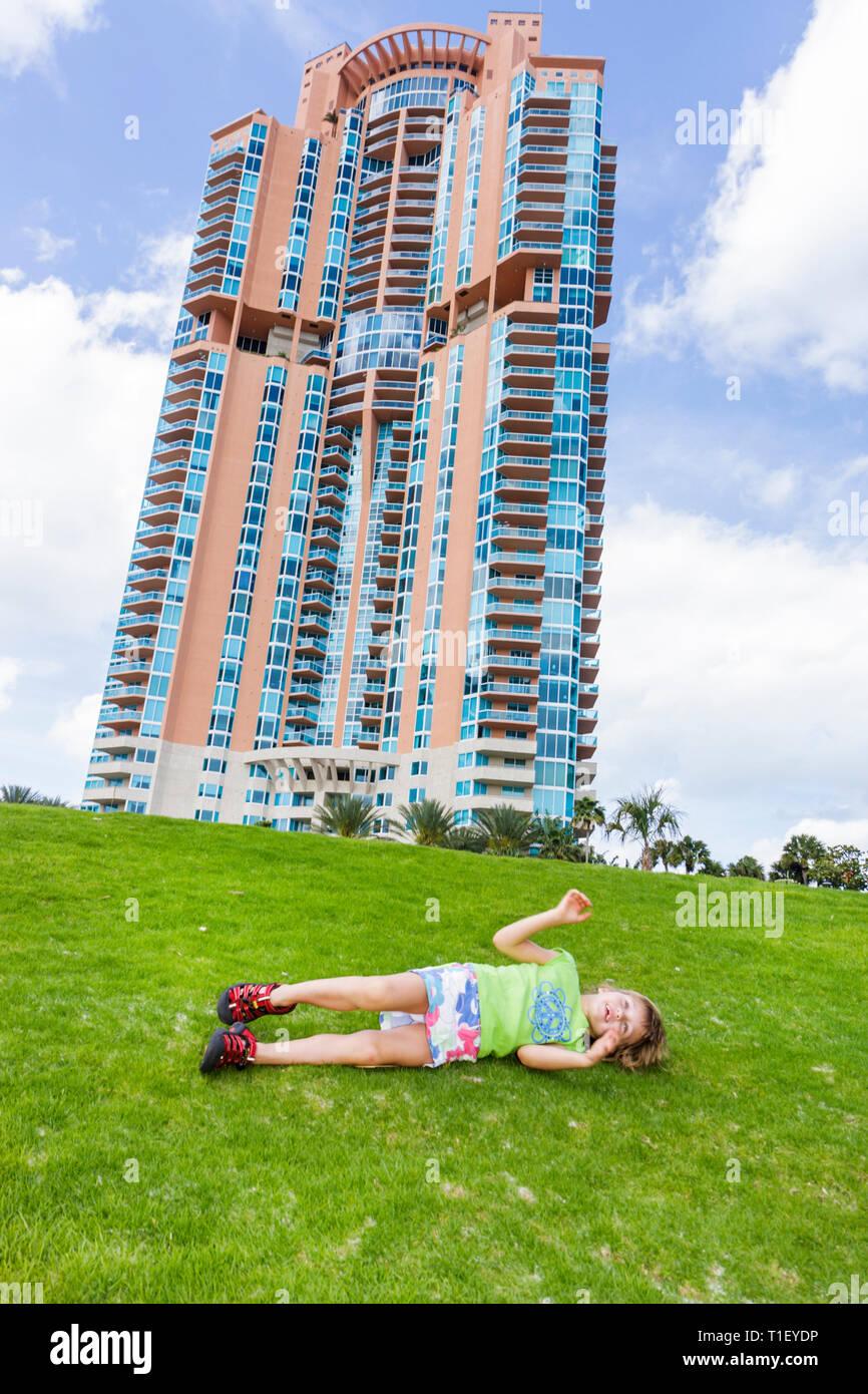 Miami Beach Florida South Pointe Park Grand Reopening event Portofino Tower Sieger-Suarez modern architecture luxury condominium - Stock Image